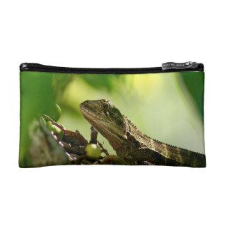 Australian lizard hiding between leaves, Photo Makeup Bag
