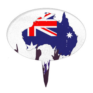Australian Map And Flag with Audience Cake Topper