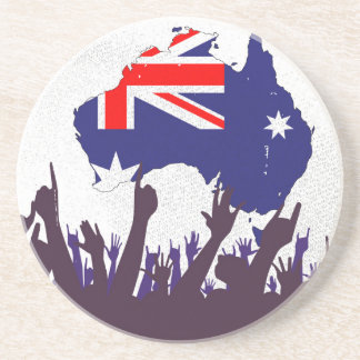 Australian Map And Flag with Audience Sandstone Coaster