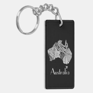 Australian Map Art Keychain
