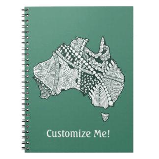 Australian Map Art Notebook