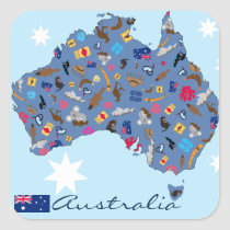 Australian map with cultural items square sticker