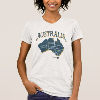 Australian Map with State Names T-Shirt