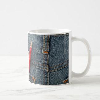 Australian money and lottery bet slip in pocket coffee mug