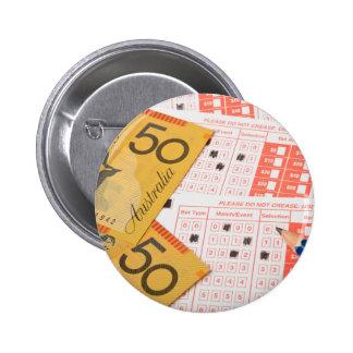 Australian money and sports betting slip pinback button