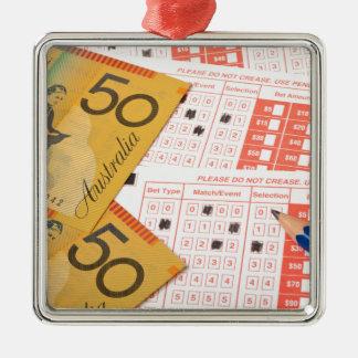 Australian money and sports betting slip metal ornament