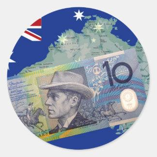 Australian Money & Flag Classic Round Sticker