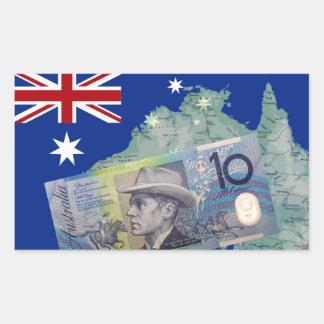 Australian Money & Flag Rectangular Sticker