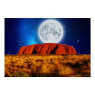 "Australian Outback Ayers Rock ""Uluru Moon"" Art Poster"