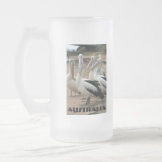Australian Pelicans at Phillip Island Frosted Glass Beer Mug