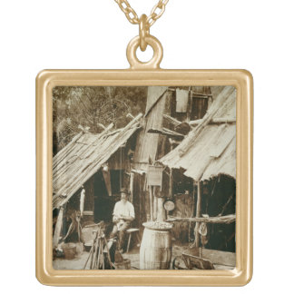 Australian prospector, c.1880s (sepia photo) gold plated necklace