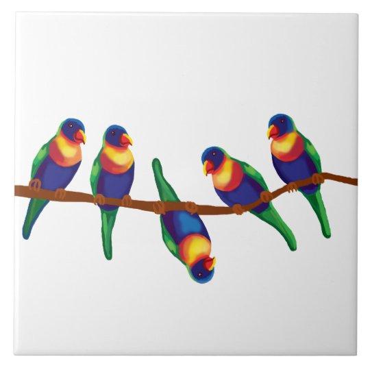 Australian rainbow lorikeets ceramic tile