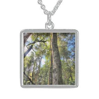 Australian Rainforest Eucalyptus Gum Trees Square Pendant Necklace