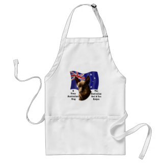 Australian Red and Tan Kelpie with Flag Adult Apron