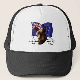 Australian Red and Tan Kelpie with Flag Trucker Hat