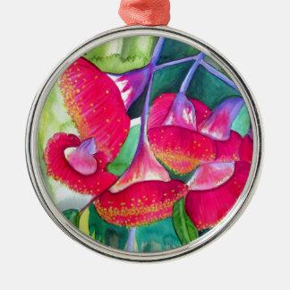 Australian red flowering gumnuts watercolor art metal ornament