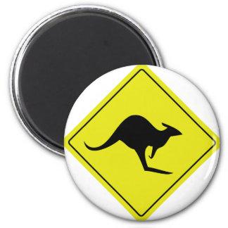 australian roadsign kangaroo australia 2 inch round magnet