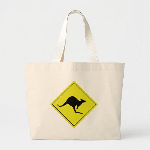 australian roadsign kangaroo australia canvas bag