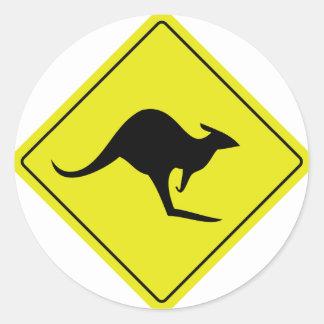 australian roadsign kangaroo australia classic round sticker
