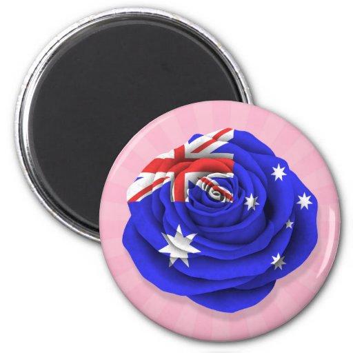 Australian Rose Flag on Pink Refrigerator Magnet