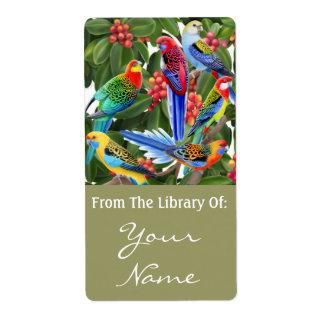 Australian Rosella Parrots Bookplate Label