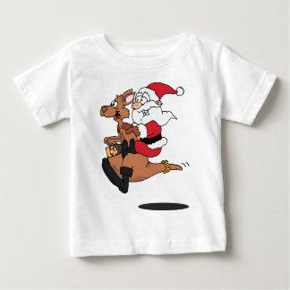 Australian Santa riding a Christmas kangaroo Baby T-Shirt