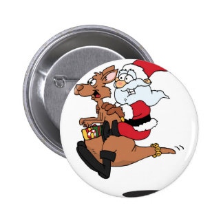 Australian Santa riding a Christmas kangaroo Button