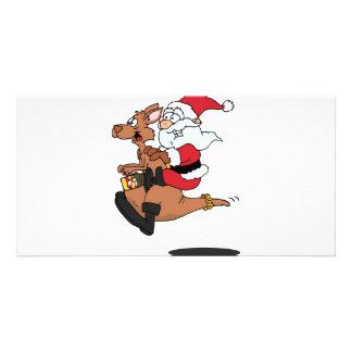 Australian Santa riding a Christmas kangaroo Card