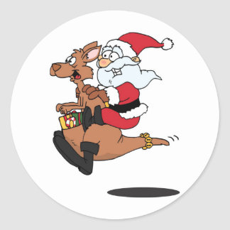 Australian Santa riding a Christmas kangaroo Classic Round Sticker