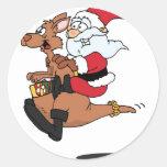 Australian Santa riding a Christmas kangaroo Stickers