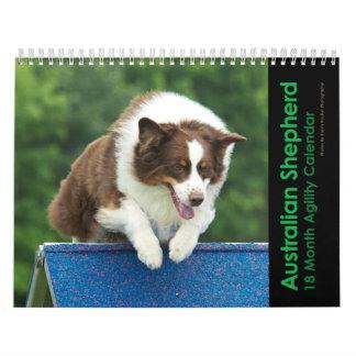 Australian Shepherd Agility 18 Month Wall Calendar