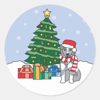 Australian Shepherd and Christmas Tree Round Sticker