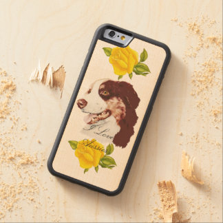 Australian Shepherd and Yellow Roses 6/6s Carved Maple iPhone 6 Bumper Case