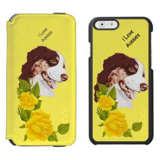 Australian Shepherd and Yellow Roses 6 Wallet