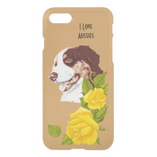 Australian Shepherd and Yellow Roses 7 iPhone 7 Case