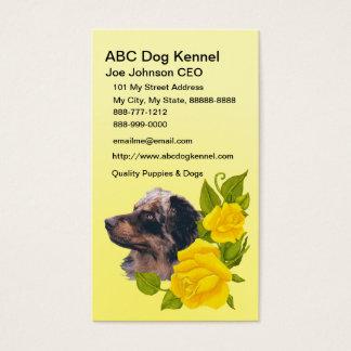 Australian Shepherd and Yellow Roses Business Card