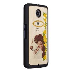 Carved Google Nexus 6 Slim Wood Case with Australian Shepherd Phone Cases design