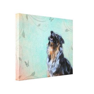 Australian Shepherd Artistic Portrait Canvas Print