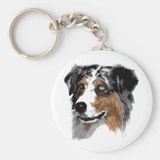 Australian Shepherd Basic Round Button Keychain