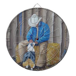 Australian Shepherd ~ Best Buddies Oil Painting Dartboard