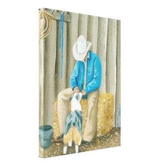"""Australian Shepherd """"Best Buddies"""" WesternPainting Canvas Print"""