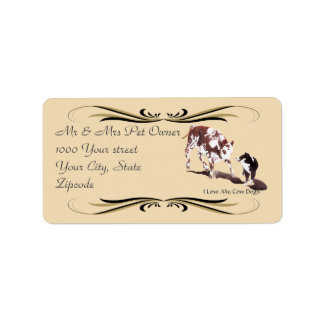 Australian Shepherd Black Cowdog Address Label