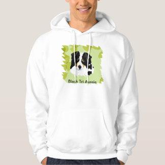 Australian Shepherd ~Black Tri Green Leaves Design Pullover
