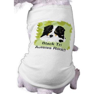 Australian Shepherd ~Black Tri Green Leaves Design T-Shirt