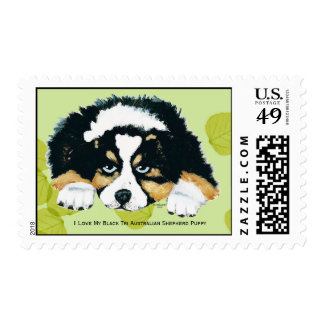 Australian Shepherd Black Tri Puppy, Green Leaves Postage