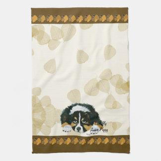 Australian Shepherd Black Tri Puppy ~Tan Leaves Hand Towels