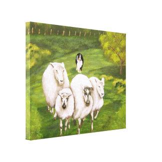 "Australian Shepherd ""Black Tri Sheepdog"" Painting Canvas Print"