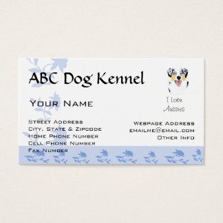Australian Shepherd Blue Flower Business Card