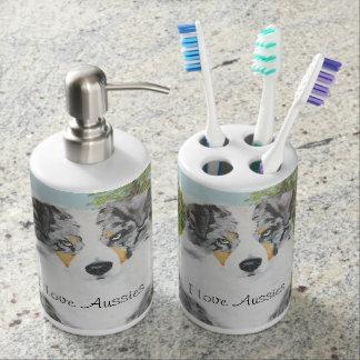 Australian Shepherd Blue Merle Dog Bath Decor Soap Dispenser And Toothbrush Holder