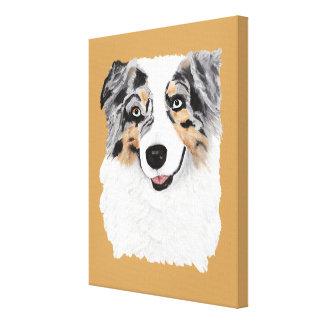 Australian Shepherd Blue Merle Dog Canvas Portrait
